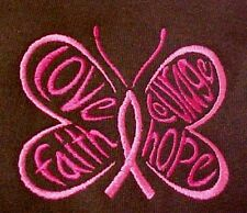 Pink Ribbon Sweatshirt L Awareness  Butterfly Hoodie Brown Breast Cancer New