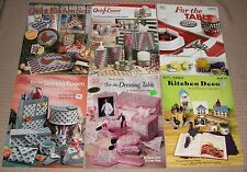 6 PLASTIC CANVAS PATTERN BOOKS kitchen deco sets bath table dressing sewing room