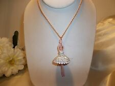 Betsey Johnson Ballerina Rose Pave Crystal Ballet Dancer Long Necklace NWT $65
