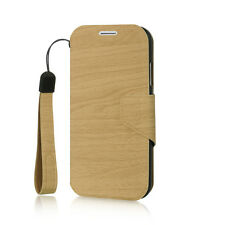 For Samsung Galaxy S4 - Leather Card Wallet Holder Pouch Case WOOD PATTERN
