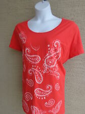 NWT Just My Size  Glitzy Graphic Scoop Neck S/S Cotton Tee Shirt Red Orange 5X