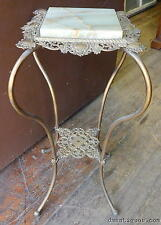 Antique Victorian French Style Decorative Brass & Onyx Marble Plant Stand Table