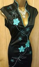 Women's JANE NORMAN Black multi blue oriental embellished DRESS UK 12 ( US 8 )