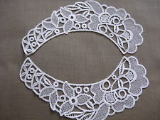 9 PAIR LOVELY WHITE FILIGREE FLORAL RAYON VENISE COLLAR APPLIQUE