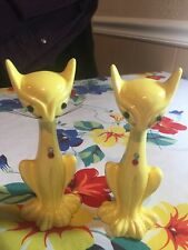 Yellow China Vintage 1950's Cat Salt And Pepper Shakers With Rhinestones