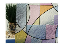 """Abstract Stained Glass Circles Static Cling Window Film, 36"""" Wide x 6.5 ft"""