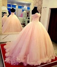 2015 Pink Tulle Princess Ball Gowns Sweetheart Appliques Quinceanera Dresses New