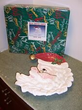 1996 Omnibus By Fitz And Floyd Wood-Carved Santa Platter/Sever