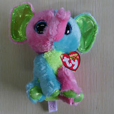 TY BEANIES BOOS Justice Elfie Pink green Elephant 6 inch STUFFED DOLL NEW