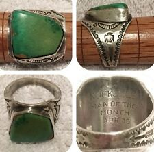 1936 Sterling Silver Old Pawn Green Turquoise Ring Sz10 Fred Harvey Era Nuckolls