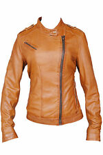 Ladies Real Leather Jacket Fitted Bikers Style brown Vintage Black 8 10 12 14 16