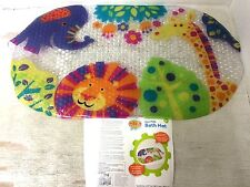New Baby Toddler Bath Mat Zoo Animals Skid Resistant Bath Time Fun