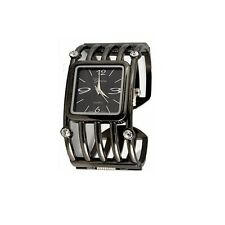 Black Bangle Watch Geneva Crystal Bezel Women's Gun Metal