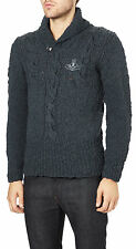 VIVIENNE WESTWOOD MAN BLUE CHUNKY KNIT JUMPER MADE IN ITALY RETAIL £385 M/L