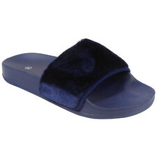 WOMENS LADIES COMFY FAUX FUR TRIM RUBBER SLIDER FLATS SHOES SLIDES SLIPPERS SIZE