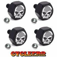 4 Black Billet Custom License Plate Frame Tag Bolts For Harley - Chrome Skull F