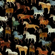 Unbridled cotton quilt fabric BTY Quilting Treasures Horses on Black