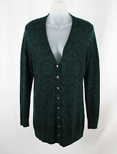 Worth Women's Green Black Print Wool Button Down Cardigan Sweater SZ M
