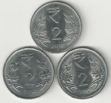 3 DIFFERENT 2 RUPEE COINS from INDIA - ALL 2012 with MINT MARKS of B, H & N