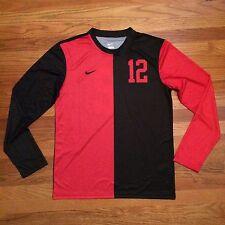 New Nike Men's M L/S DQT Game Jersey 13 Futbol #12 Soccer Black Red MSRP $90