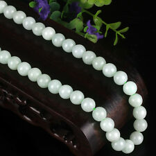New Natural Grade A Jade (Jadeite) 8mm Round Bead Necklace 52cm