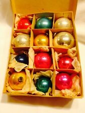Vtg Occupied Japan Blown Glass Christmas Ornaments In Box 12