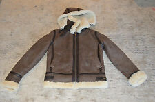 Burberry Brown Leather Sheepskin Shearling Hooded Jacket Coat Mens Small Medium
