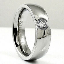 High Polished Titanium RING with 5mm Round CZ, sizes 7, 8, 9, 10, 11, 12, 13