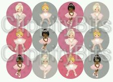 "50 x 1"" Inch Pre Cut Bottle Cap Images Ballerina Dance Girls Mix Crafts Bows pic"