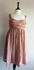 ❤ Size S New Full Circle Cocktail Dress 100% Pink Silk Empire Line