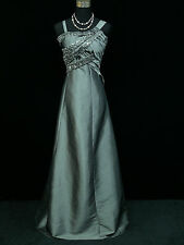 Cherlone Plus Size Satin Grey Ball Prom Wedding/Evening Gown Dress UK 18-20