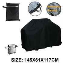 Black Waterproof BBQ Cover Outdoor Rain Barbecue Grill Protector 145X61cmX117cm