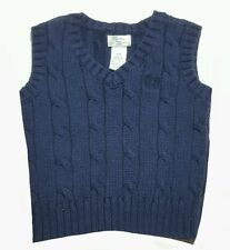Chaps 9 Months Baby Boy Sweater Vest Navy Blue Shirt Top Infant Cable Knit Nice