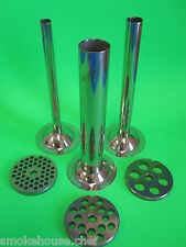#12 SET Meat Grinder Mincer parts (3) Plates + (3) Sausage Stuffer Tubes 6 pc