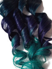 Purple Blue Teal 100% Human Hair Clipin Ombre Dye Seasie Mermaid Extensions