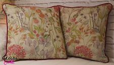 Voyage Hedgerow Autumn Velvet Cushion Cover 45x45 Piped floral pink maison style