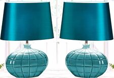 """Set of 2 ** 18.8"""" GALLANT TEAL BLUE NIGHT STAND TABLE DESK LAMPS & SHADES * NIB"""