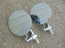 "(x2) 4"" round MIRROR for HANDLE BARS on motorcycle, scooter, swivel, bar mounted"