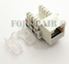 100 Pack Lot - CAT5e RJ45 110 Punch Down Keystone Modular Snap-In Jacks - White