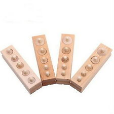 Set of 4 MONTESSORI Wooden Knobbed CYLINDER BLOCKS SENSORIAL Material JK