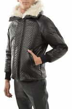 $4,140K NEIL BARRETT Black Padded Hooded Leather Bomber Jacket, Italy, size M