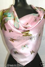 Fashion Soft Pink 100% Silk Butterfly Design Square Shawl/Scarf/Stole/Wrap New
