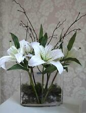 "NEW WHITE TIGER LILY ARTIFICIAL SILK FLOWER ARRANGEMENT IN ""CLEAR WATER"" VASE"