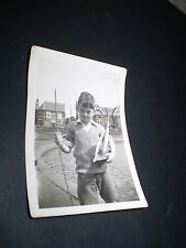 social history 1940's young boy with toy pond yacht  photograph 3.3'inch