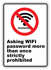 """Asking Wi Fi Password Ban Stop Sign Funny Humor Car Bumper Sticker Decal 3"""" x 5"""""""