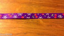 1 Yard 10mm Purple Cherry Snowflake Grosgrain Christmas Ribbon Cardmaking 1