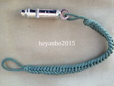 WWII GERMAN MILITARY WEHRMACHT WH METAL WHISTLE WITH GREEN ROPE