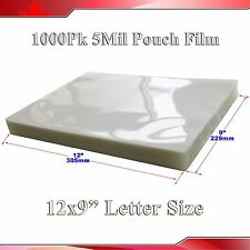 "Letter Size Clear Laminating Pouch Film 1,000Pk 5Mil 9x12""  Thermal Hot"