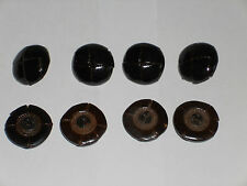8 x Real Leather Dark Brown Football Buttons 25mm