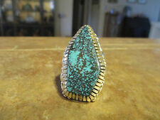 LARGE Vintage NAVAJO Sterling Silver ULTRA PREMIUM Turquoise Design Ring  Size 8